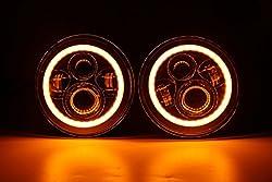 【HOZAN正規新品】7インチ CREE製LED ヘッドライト 黄色転向 デイタイムランニングライト付き Hi Lo切り替え シルバー ハーレーバイクー対応 ジープ・ラングラー  ハマーH2  ランドローバーディフェンダー対応 1年間保証付き