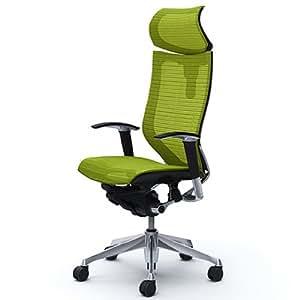 オカムラ オフィスチェア バロン 可動ヘッドレスト 可動肘 座メッシュ ライムグリーン  CP81AR-FDH6