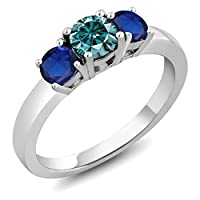 Gem Stone King 1カラット ブルー モアサナイト Charles & Colvard シミュレイテッド サファイア シルバー925 指輪 リング