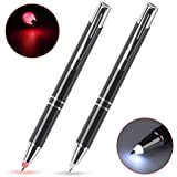 Lighted Tip Pen, Glowseen 2-Pack Technical Pens Light Up Pen with Light, LED Lighted Pen for Writing in The Dark (Red Light and White Light)