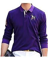 ポロシャツ メンズ 長袖 ゴルフウェア コットン 男性 刺繍 二重衿 軽量 吸汗通気 パープル 8899PURPLE-L