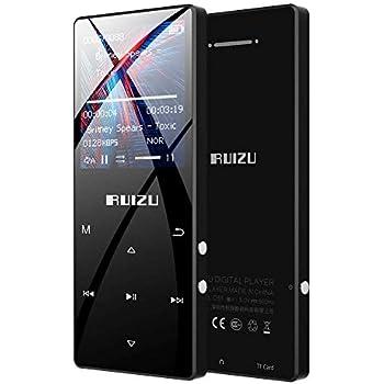 RUIZU MP3プレーヤー Bluetooth 4.1 デジタルオーディオプレーヤー HiFi 高音質 8GB-16GB内蔵 128GB 拡張可能 合金製 内蔵スピーカー ボイスレコーダー ミュージックプレーヤー FMラジオ D51 ブラック