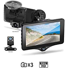 BOSS Audio BCAM60 Car Dash Cam DVR System - 4 Inch Touchscreen, 1080P Recording, Rear Camera Included, Front-Inside-Rear Recording, Motion Detection, Auto Loop Recording, 110 Degree Wide Angle