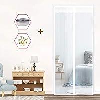 網戸 玄関 ドア用 マグネット式 簡易あみ戸カーテン, ハンズフリー 自動で閉まる 虫よけ 防虫バッチリ インストールが簡単 穴あけなし、白,80x210cm