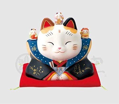 縁起物の置物 ネコ 彩絵 七福神福助 招き猫 5.5号
