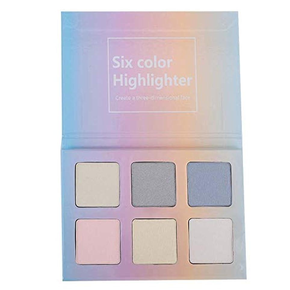 候補者時折高潔な6色3-in-1ハイライトアイシャドー漂白剤パレットを適用するのは簡単防水化粧品メイクアップパウダー