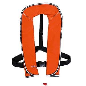 DABADA(ダバダ) ライフジャケット インフレータブル ベストタイプ 膨張式 救命胴衣 男女兼用 フリーサイズ (首かけ手動膨張式オレンジ)