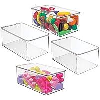 (エムデザイン) mDesign ロングプラスチック積み重ねオーガナイザー おもちゃボックス 蓋付き アクションフィギュア クレヨン マーカー 組み立てブロック パズル 工芸品 学校用品 4パック クリア
