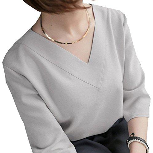 (フムフム) fumu fumu ブラウス レディース Vネック ファッション 七分袖 ホワイト 白 グレー ピンク ((F. グレー M))