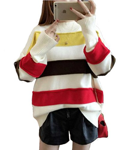 Heaven Days (Haven Days) knit pullover sweater round neck multi border Ladies 1710M0440