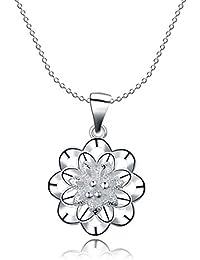 lureme エレガントなスタイルのシルバーメッキ中空の花のペンダントネックレス(01003675)