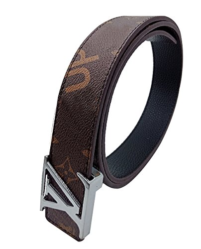 Kakia New Vのベルトビジネスカジュアルレザーベルト (125, 棕色银扣)