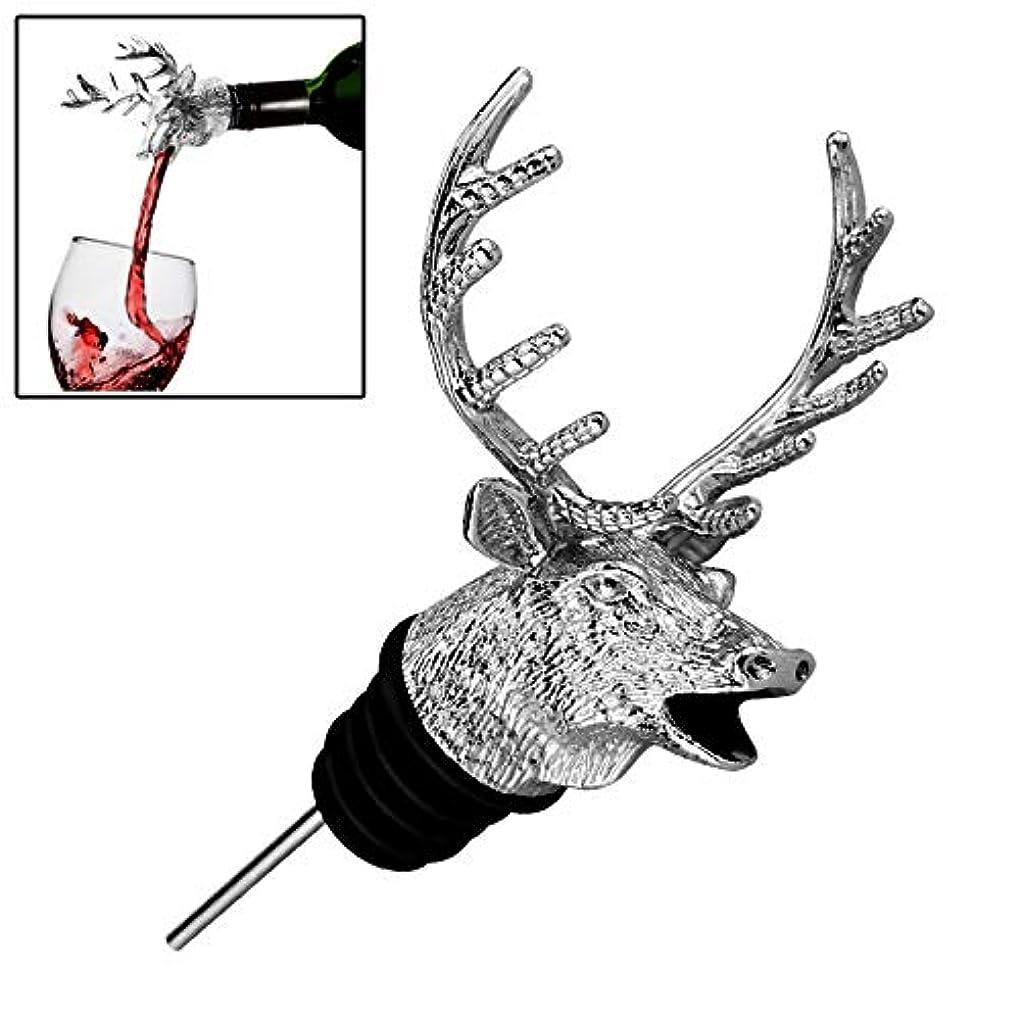 発生する司令官褐色家および庭の付属品 鹿の頭の形のワイン注ぐ機械ワイン口赤ワインのボトルストッパー、サイズ:11.8x7.7cm (色 : Silver)