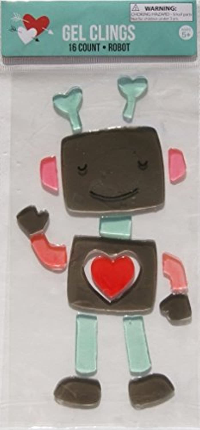 [リテイル]Retail Holiday Cute Valentine's Day Robot Gel Window Clings 16 Piece [並行輸入品]