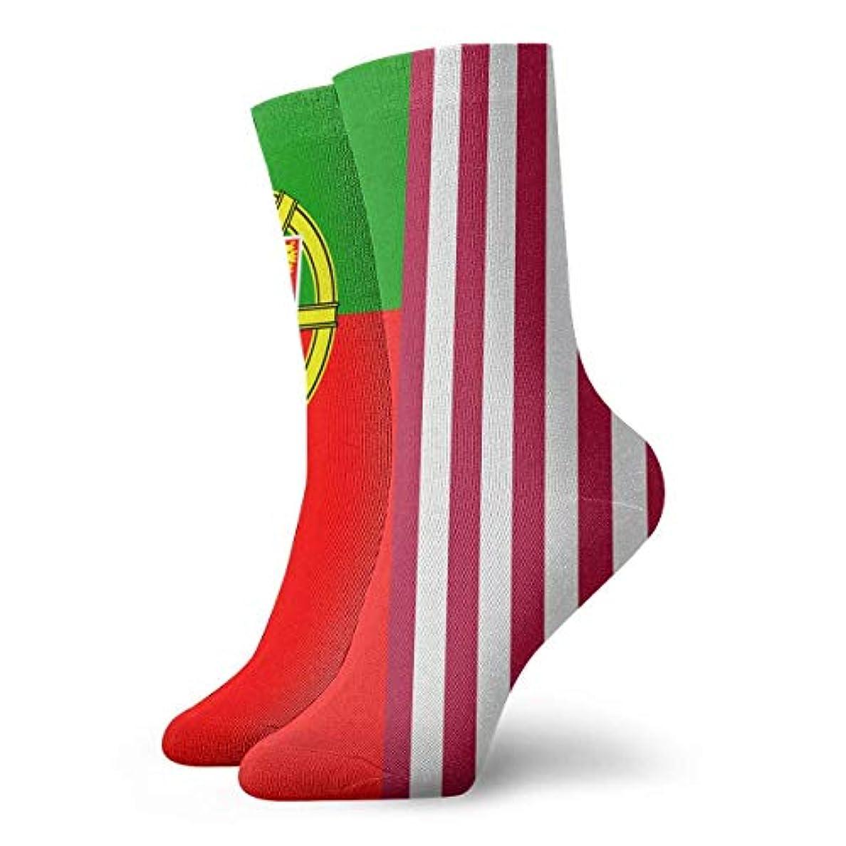 テクスチャー満足できる玉ねぎQRRIYレディースアメリカアメリカ ポルトガルフラグソフトクリスマス膝高ストッキング靴下、クリスマス楽しいカラフルな靴下ソックス