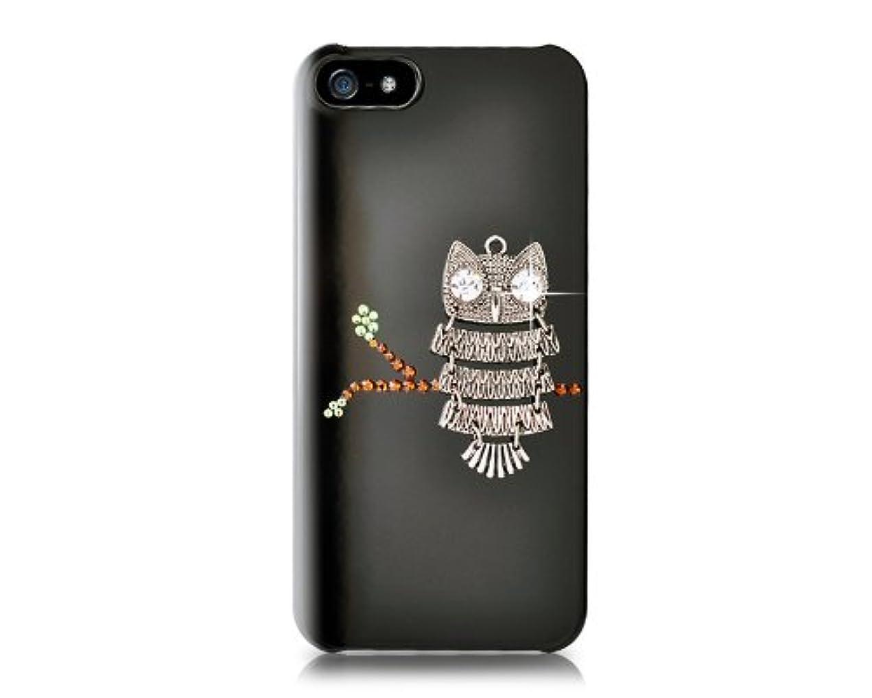 速度届ける信頼できるPlayBling 【iPhone 5/5s用クリスタルケース】 フクロウクリスタルケース OwlOnTree-IP5-BK