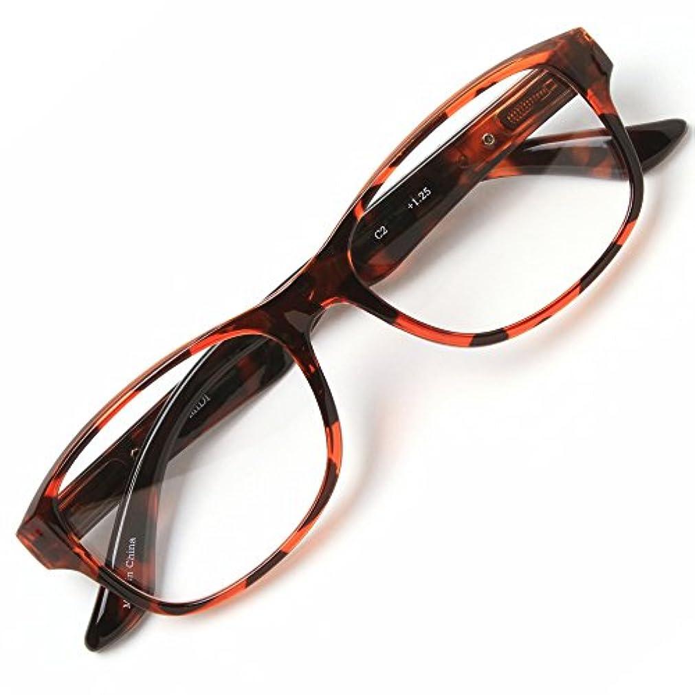 擬人消費シングルMIDI-ミディ おしゃれな老眼鏡 男女兼用 メンズ レディース ウェリントンで一味違う老眼鏡 快適バネ丁番付き 専用ソフトケース付き ブラウンデミ (M-201,C2,+1.50)