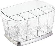 InterDesign Rain Silverware, Flatware Caddy Organizer for Kitchen Countertop Storage, Dining Table - Clear