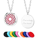 """INLIFE [Upgraded] Aromatherapy Essential Oil Diffuser Necklace, Sunflower Locket Pendant, 24"""" Adjustable Chain Stainless Steel Perfume Necklace with 10 Refill Pads"""