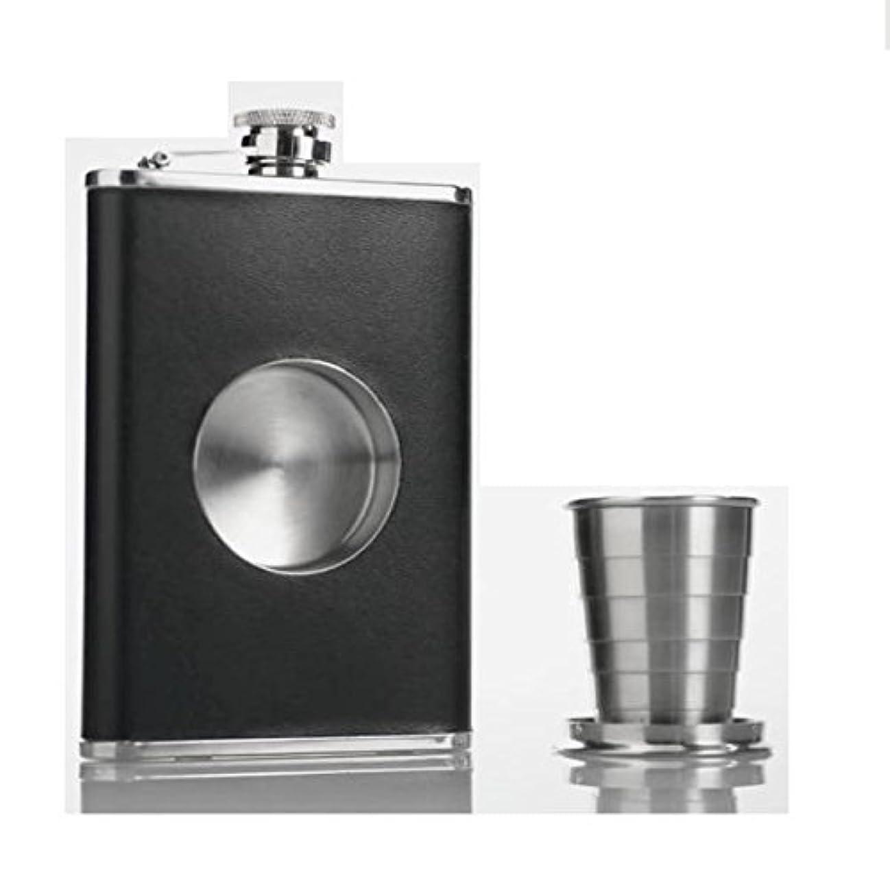 建物起きろマングルスキットル 8oz ウイスキー携帯ボトル ヒップフラスコセット インライン伸縮カップ