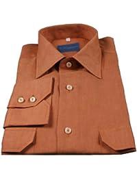 メンズ100%リネンシャツ長袖スリムフィットMade in Italy Stef。1001