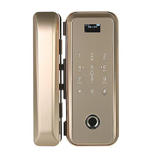 Decdeal スマートロック デジタルロック ガラスドアロック 指紋認証 パスワード+ ICカード+指紋+リモコン ダブルオープンガラス ドア用指紋とタッチスクリーン