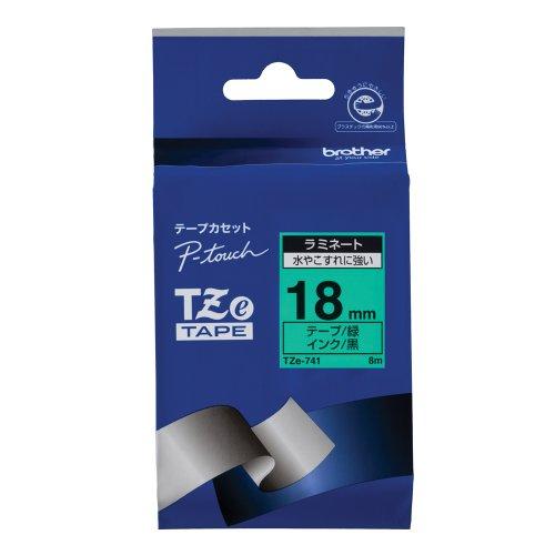 ピータッチ ラミネートテープ 緑ラベル TZe-741 [黒文字 18mm×8m]