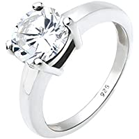 Elli Women 925 Sterling Silver Classic with Zirconia Ring