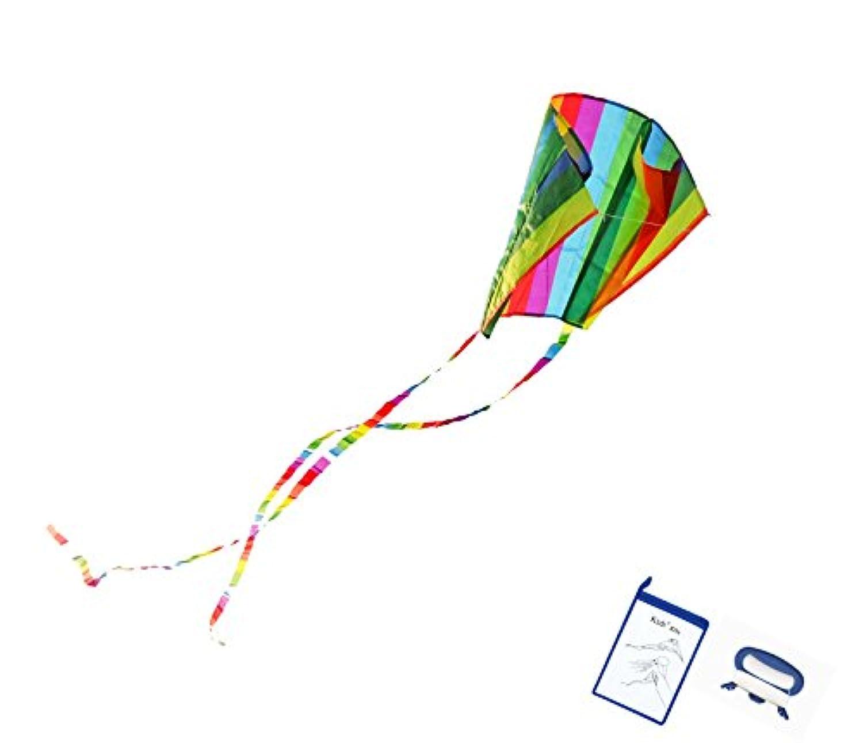 (Rainbow) - Kizh Rainbow Kites for Kids Frameless Single Line Kite for Adults Child Beach Park Garden Playground Spring Outdoor Fun with 50m String(Rainbow)