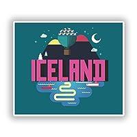 2 x 20cm アイスランド - ノートPCやタブレット用ビニールステッカー #10397