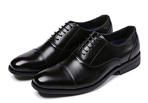 【Jo Marino】高品質 本革 メンズ ビジネス レザーシューズ 革靴 紳士靴 通気性 空気循環 消臭 衝撃吸収 幅広 軽量 (26cm, BLACK)