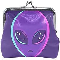 がま口 財布 口金 小銭入れ ポーチ 宇宙人 紫 Jiemeil バッグ かわいい 高級レザー レディース プレゼント ほど良いサイズ