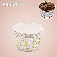 3000ピース花柄ラウンドラミネートケーキカップマフィンケースチョコレートカップケーキライナーベーキングカップ、サイズ:5.8 x 4.4 x 3.5 cm (色 : 黄)