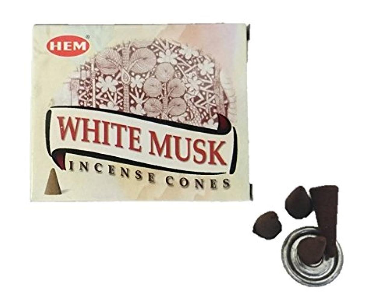 肌寒いシュガー塗抹HEM(ヘム)お香 ホワイトムスク コーン 1箱
