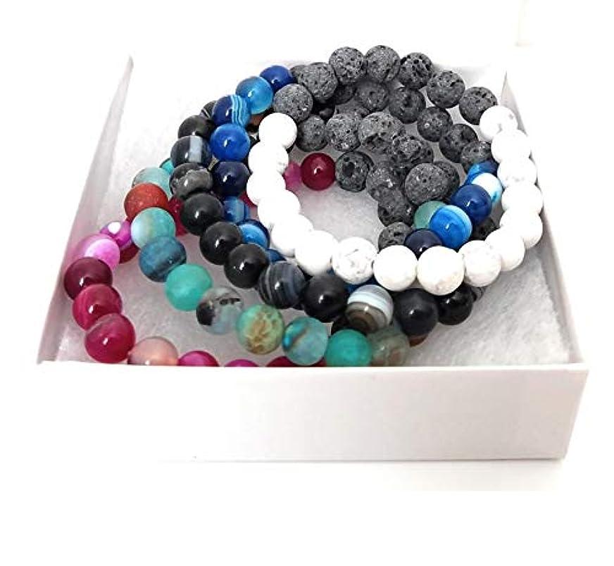 バラ色苦情文句弾丸Authenticラバストーンブレスレットfor Women Essential Oilアロマテラピーの理想的なストレス&不安relief-chakra Diffuser Healing Rock beads-meditation...