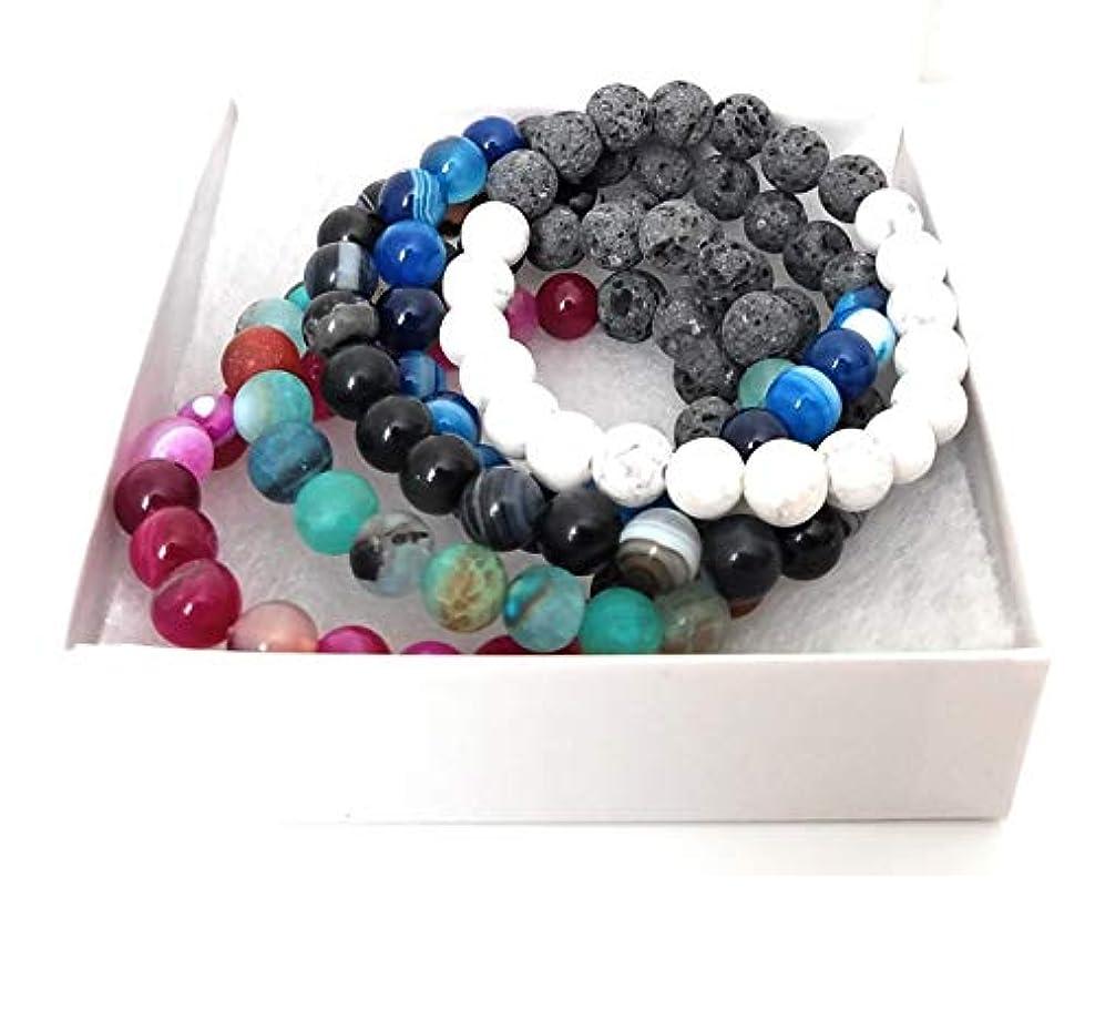 やさしい知性描くAuthenticラバストーンブレスレットfor Women Essential Oilアロマテラピーの理想的なストレス&不安relief-chakra Diffuser Healing Rock beads-meditation...