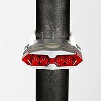 Beautyrain 1個 USB充電マウンテンバイクリアライト ホワイト/ブラック/グリーン/シルバー