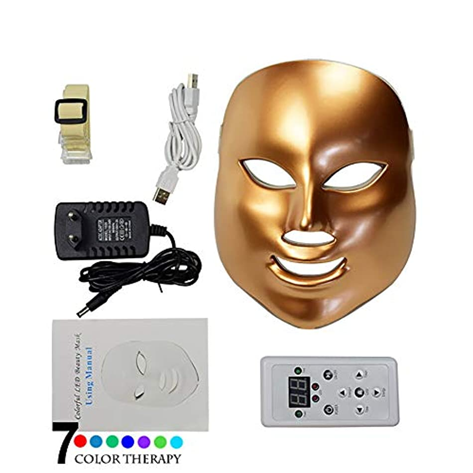同化く道徳7色LEDフェイスマスク、7色LEDスキン光線療法器具、健康的な肌の若返りのためのレッドライトセラピー、アンチエイジング、しわ、瘢痕化,Gold