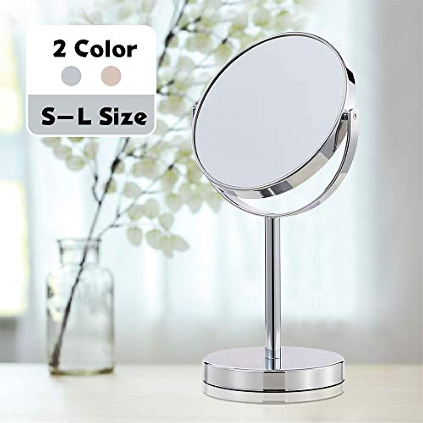 事業内容提案する砂利(セーディコ) Cerdeco シンプルデザイン 真実の両面鏡DX 5倍拡大鏡 360度回転 卓上鏡 スタンドミラー メイク 化粧道具 鏡面148mmΦ J622
