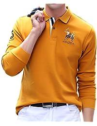 ポロシャツ メンズ 長袖 ゴルフウェア コットン 男性 刺繍 二重衿 軽量 吸汗通気 6色展開