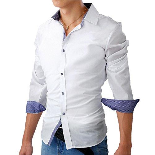フェアリーストーン ドレスシャツ 長袖 チェック 柄 ボタン スリム フィット カジュアル S-06 メンズ ホワイト M