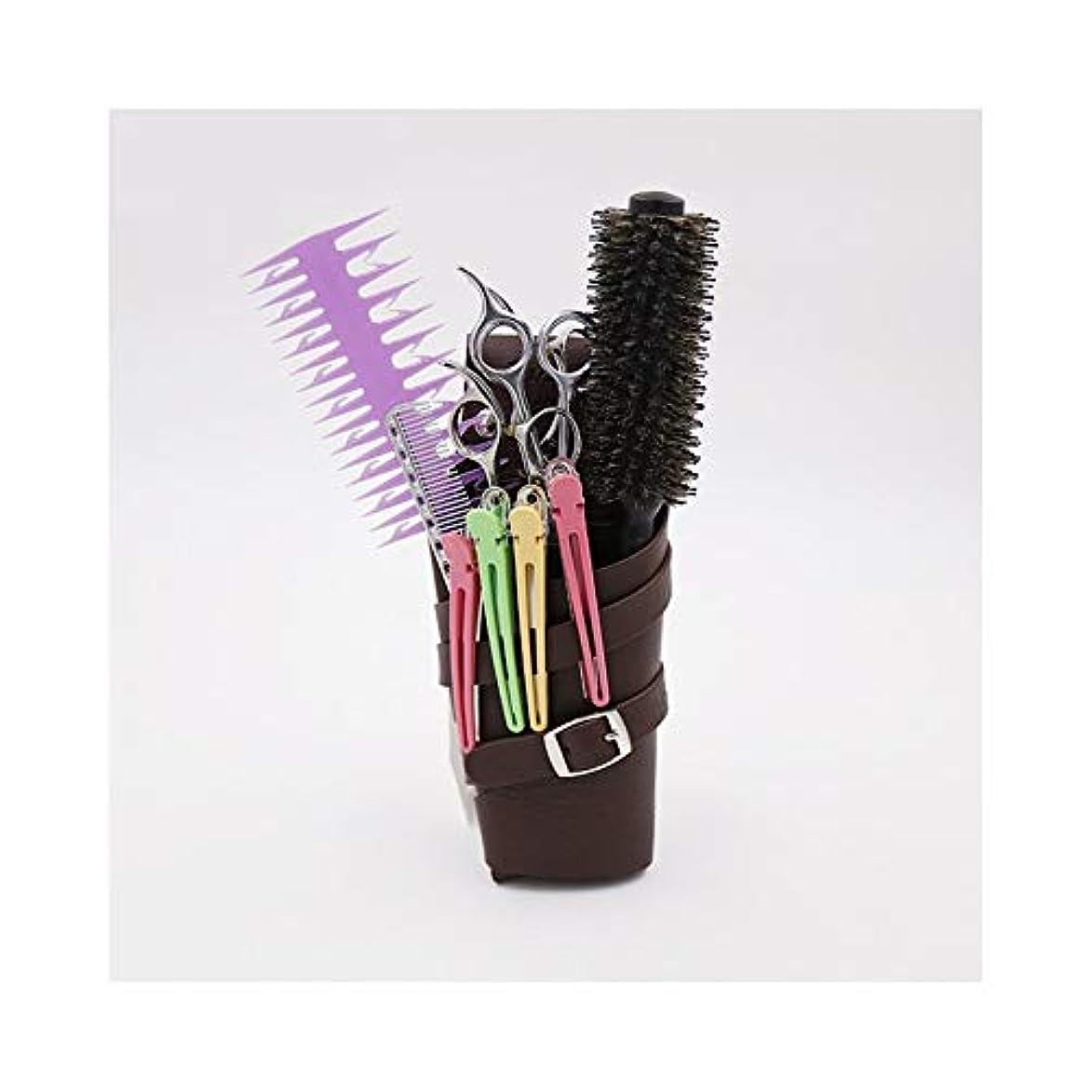 消費アヒル均等にショルダーベルト付きヘアスタイリスト自分自身PUレザーヘアシザーホルスター理髪ポーチバッグ モデリングツール (色 : ブラウン)