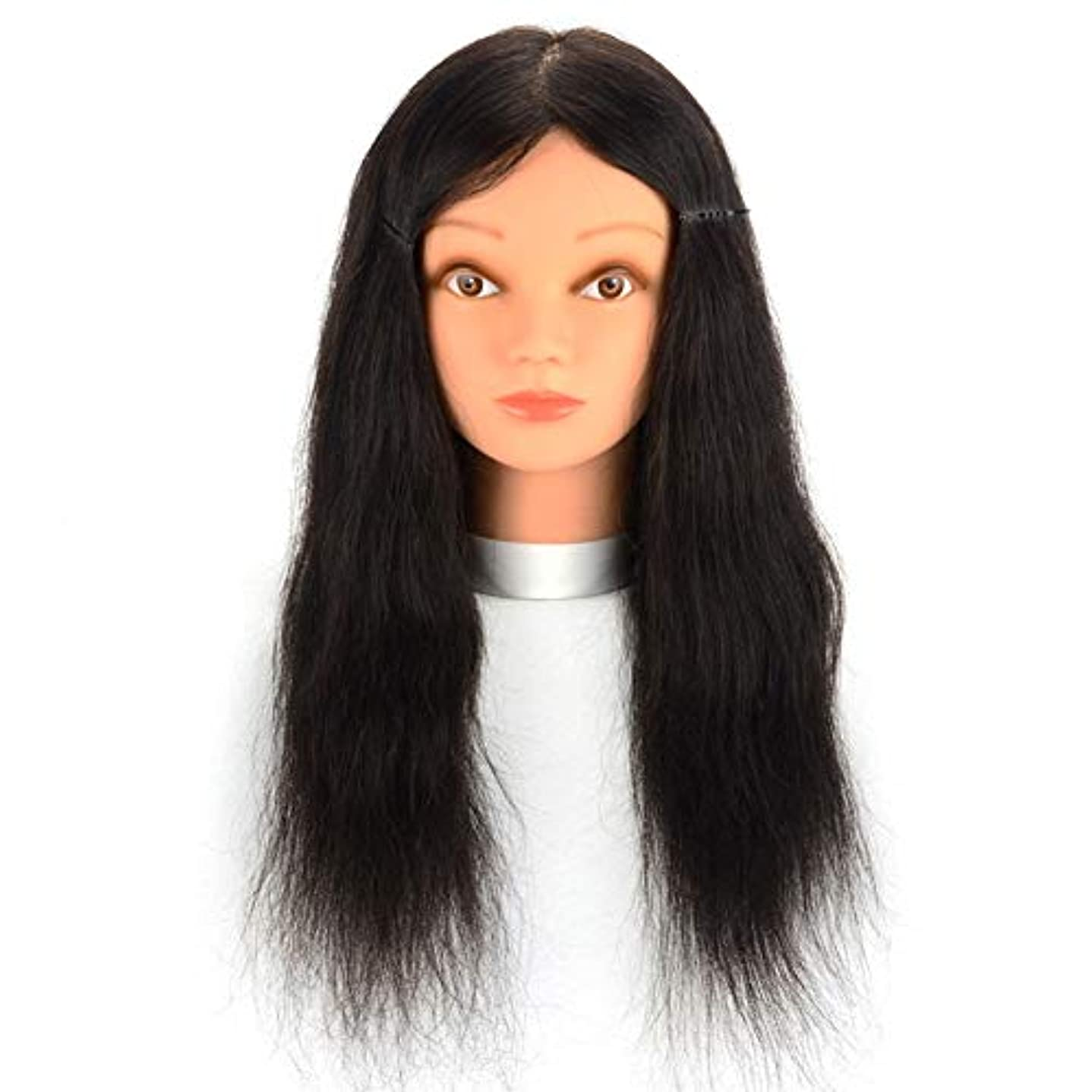 とティーム非常に副リアルヘアマネキンヘッド理髪店パーマ髪染色練習かつらヘッドモデルメイクアップヘアカット練習ダミーヘッド,16inches
