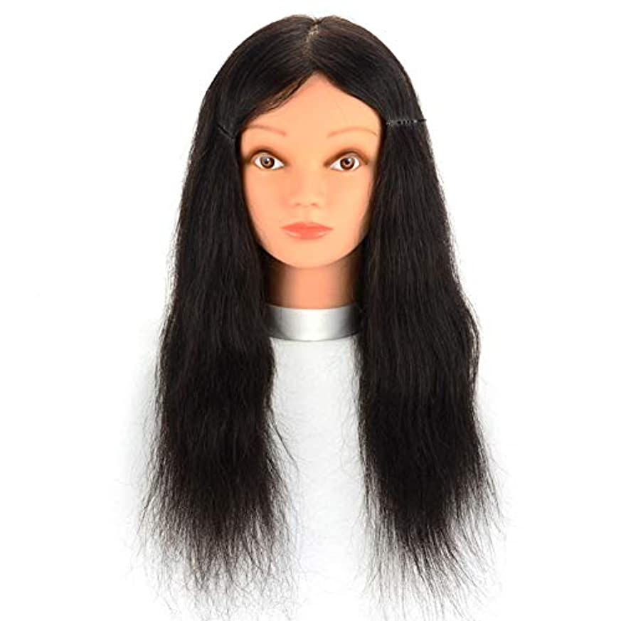 湖褐色ポインタリアルヘアマネキンヘッド理髪店パーマ髪染色練習かつらヘッドモデルメイクアップヘアカット練習ダミーヘッド,16inches