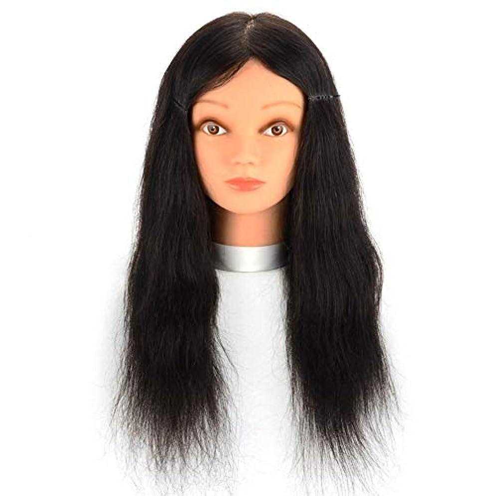 暗唱する一スキルリアルヘアマネキンヘッド理髪店パーマ髪染色練習かつらヘッドモデルメイクアップヘアカット練習ダミーヘッド,16inches