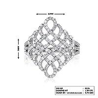 Jewelspaark 925スターリングシルバー 1.04カラット 100% 天然ラウンドホワイトダイヤモンド カクテルリング レディース
