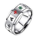 INRENG ユニセックス ステンレスクリエイティブ 中国麻雀デザインスピナーリング グッドラック指輪 男女のための、シルバー 日本サイズ24号
