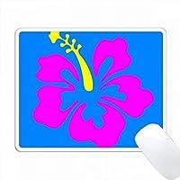 漫画ハワイアン・フクシア・ハイビスカス・オン・ブルーのプリント PC Mouse Pad パソコン マウスパッド