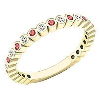 14Kイエローゴールドラウンド宝石用原石&ダイヤモンドレディース結婚記念スタッカブルバンド