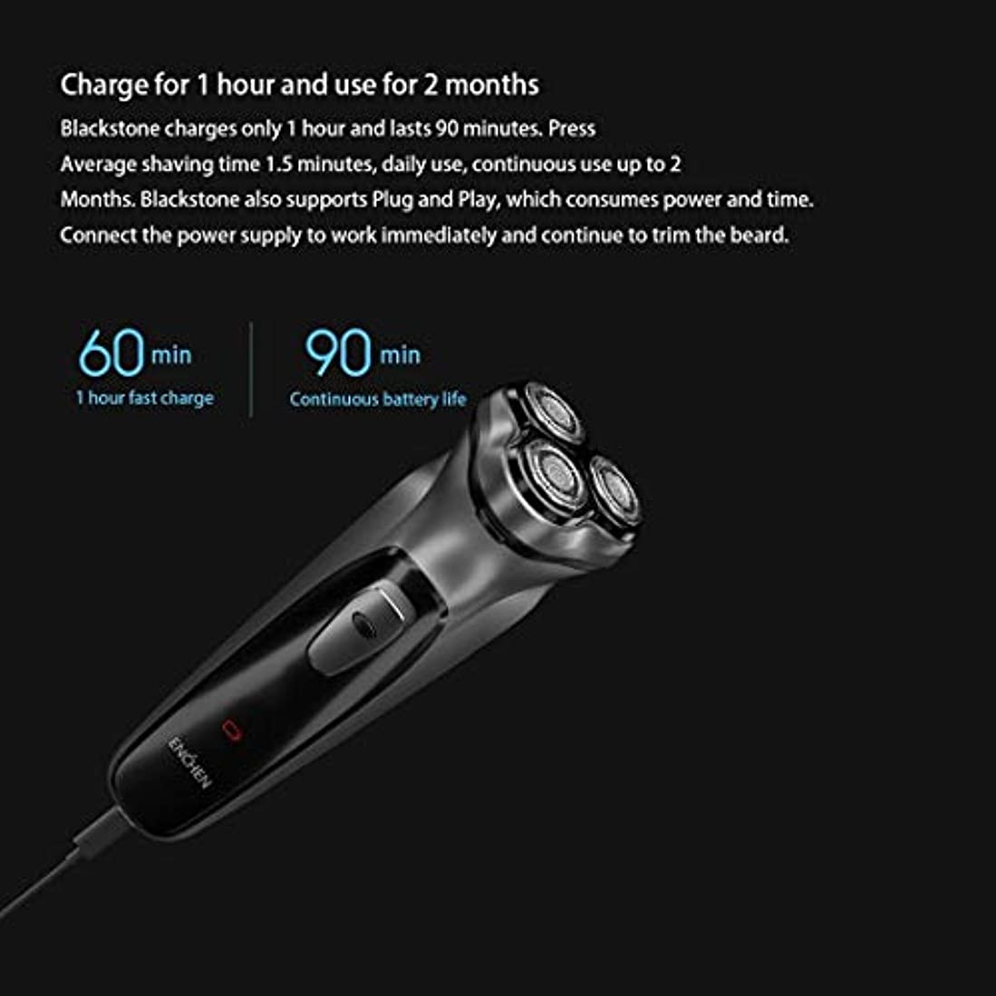 EnjoyLife- 1時間の高速充電長いバッテリー寿命5Wハイパワー3Dサスペンションダブルリング研削ヘッドインテリジェントアンチピンチひげ男性電気かみそり